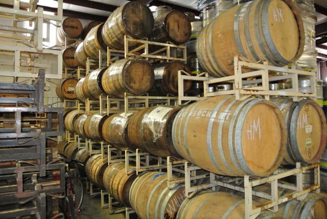 Yummy stuff maturing and developing flavors - wine barrels and bourbon barrels...can't hardly wait!