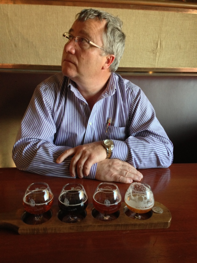 Murray's good side with his 4 beer sampler at Firestone Walker Pub.