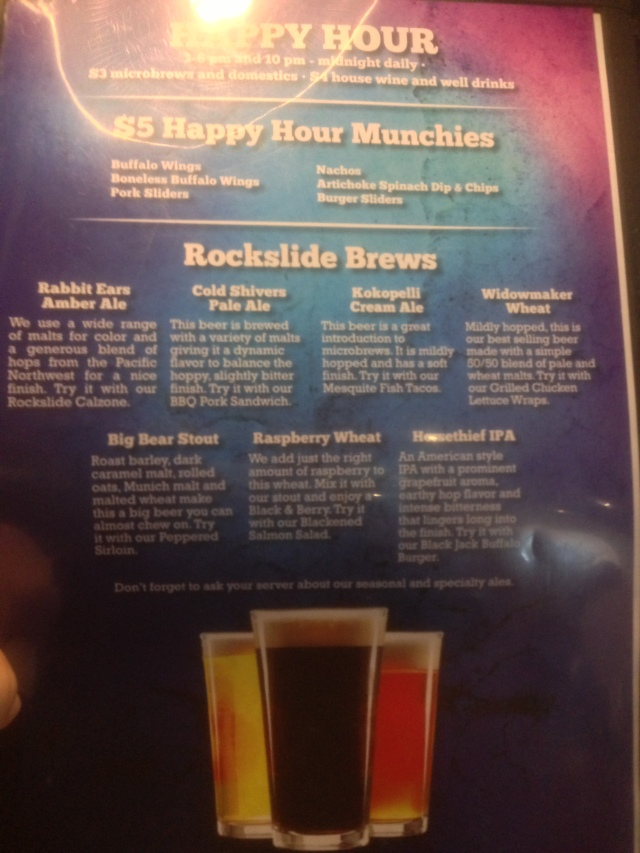 Rockslide Beer list.