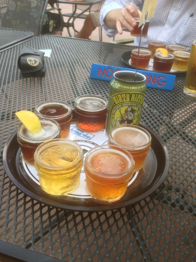 Palisade Brewery flight of beers in jelly jars