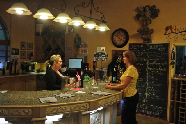 Kathy chatting with Sarah at Haak Winery in the tasting room