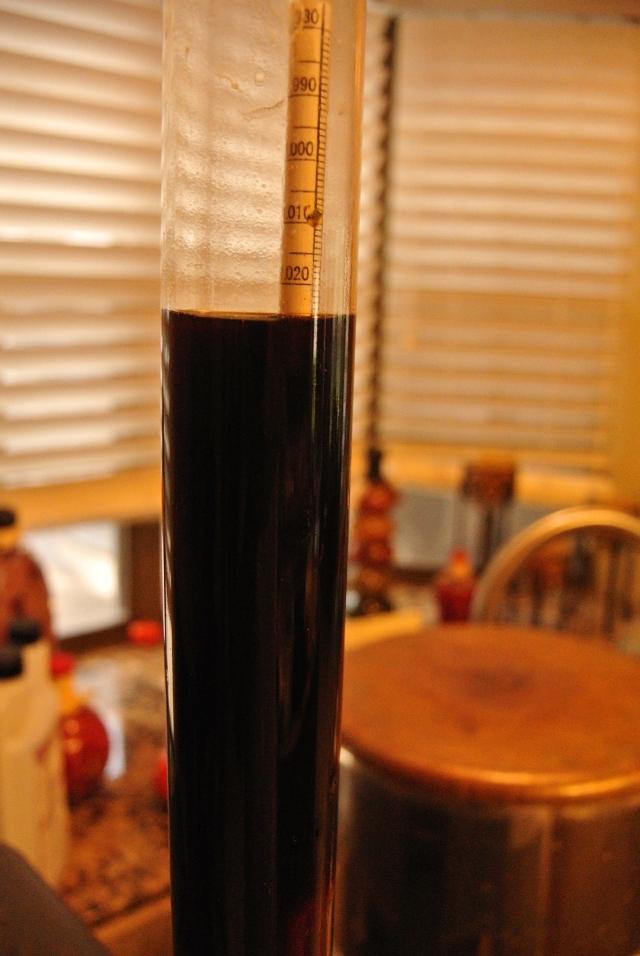 There it is - 1.026 SG - hopefully I will get a little more fermentation and it will drop a little more - 8.47% ABV at the moment.