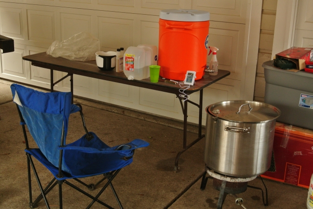 Low tech but effective outdoor brewing set-up.