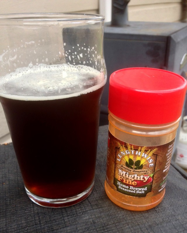 The Golden Wheat  Red IPA posing with the Lengthwise seasoning.